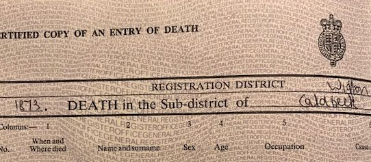Curious deaths – death certificates and family history