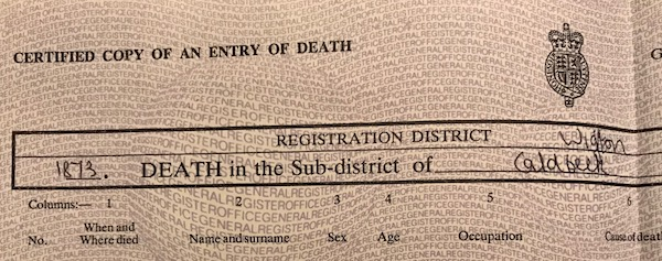 Curious deaths - death certificates and family history